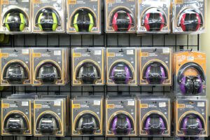 Family Armory & Indoor Range: safety hearing protection for sale on retail floor.
