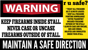 Family Armory & Indoor Range: Public awareness firearm safety sign.