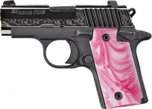 Sig Sauer Model P238 Pistol, Pink Pearl Grips, .380 ACP caliber.