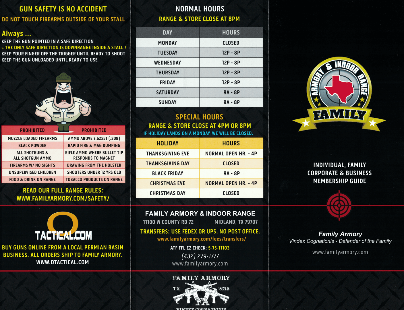 Family Armory Pricing Membership Brochure Exterior
