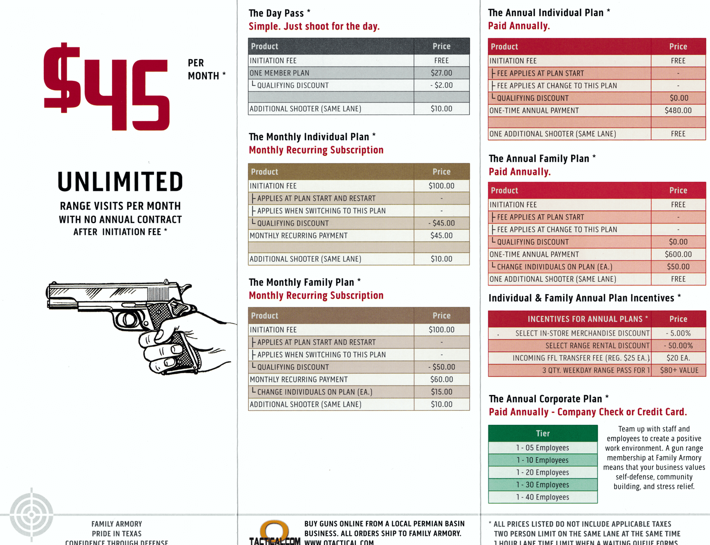 Family Armory Pricing Membership Brochure Interior