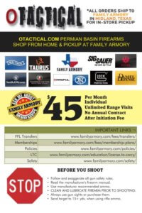 FAMILY ARMORY TEXAS-PRODUCT PROMOTION CARD-BACK