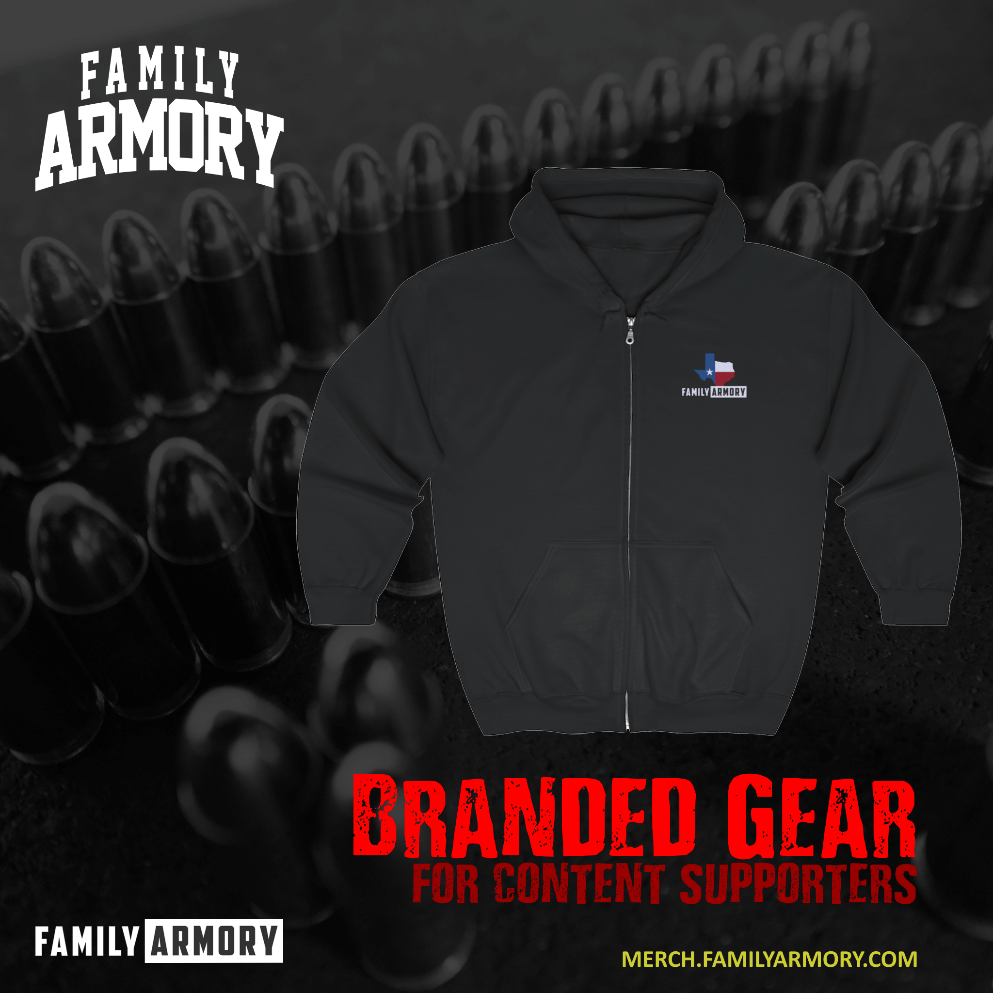 FAMILY ARMORY ODESSA-MIDLAND TEXAS GUN RANGE CONTENT SUPPORTER HOODIE