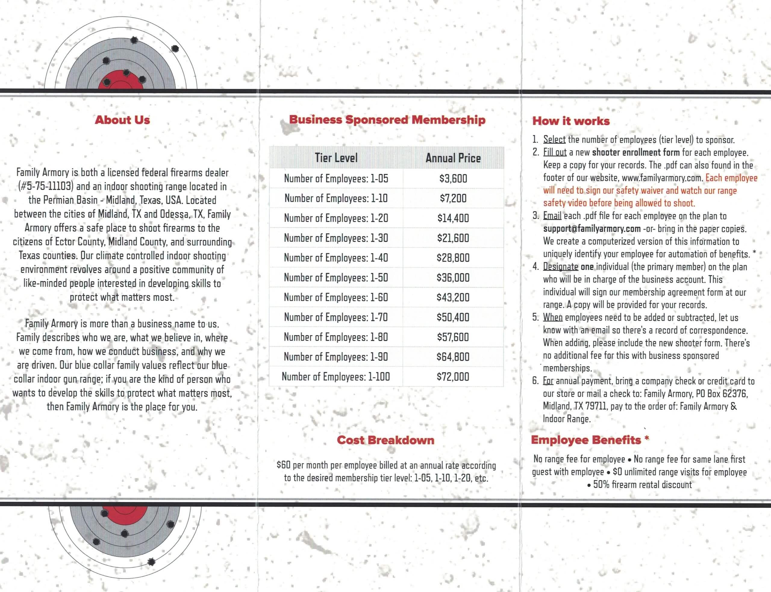 Family Armory Corporate Membership Brochure Interior